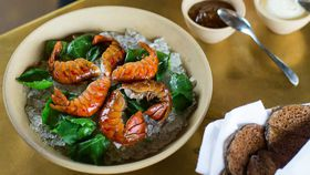 Peter Gilmore's boiled yabbies with buckwheat pikelets, creme fraiche and lemon marmalade