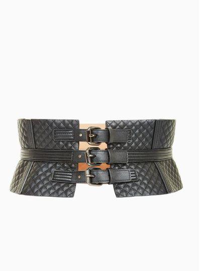 "<a href=""http://www.bcbg.com/en/quilted-corset-waist-belt/NVQBC311-001.html?color=001"" target=""_blank"" draggable=""false"">BCBG</a>, Quilted corset belt, $157<br />"