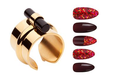 """<p><a href=""""http://ambersceats.com/product/rumi-ring/#prettyPhoto"""" target=""""_blank"""">Ring, $109, Amber Sceats</a>, and<a href=""""http://www.asos.com/au/elegant-touch/house-of-holland-nails-by-elegant-touch-blood-thirsty/prod/pgeproduct.aspx?iid=5198876&clr=Bloodthirsty&SearchQuery=nail+polish&pgesize=36&pge=0&totalstyles=86&gridsize=3&gridrow=2&gridcolumn=2"""" target=""""_blank"""">Blood Thirsty,$17.50, House of Holland Nails by Elegant Touch</a>.</p>"""