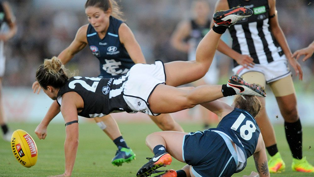 24,500 packed into Princes Park to watch the AFL women's opener. (AAP)