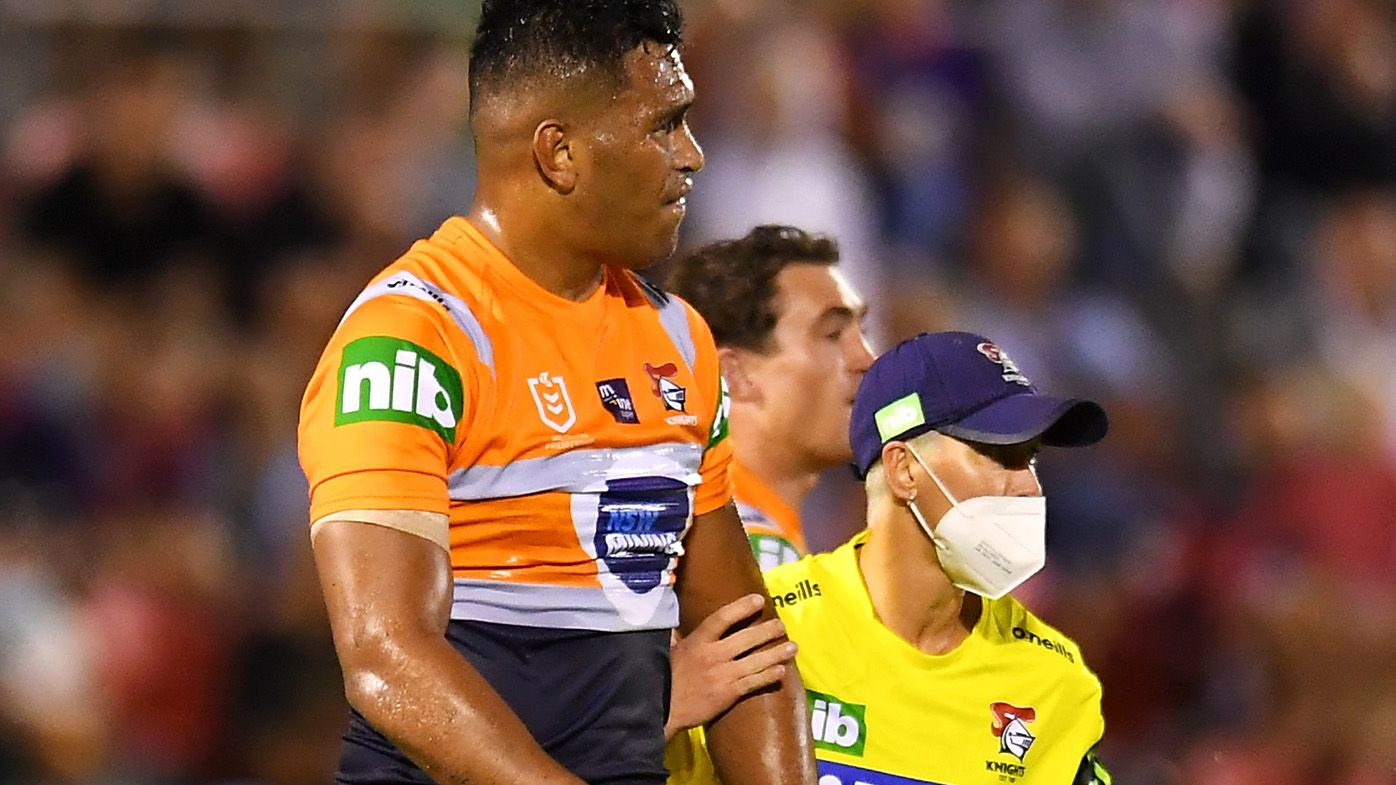 Daniel Saifiti injury blow sours crucial Knights win over Sharks