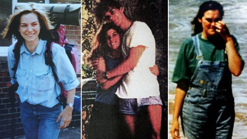 British backpackers Caroline Clarke (left) and Joanne Walters (right) were victims of Milat, along with couple German Anja Habschied and Gabor Neugebauer (centre).