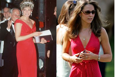 Princess Di is formal in red, whereas Kate has fun with a splash of colour.