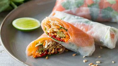 "<strong><a href=""http://kitchen.nine.com.au/2017/03/06/10/41/vietnamese-cold-smoked-salmon-rice-paper-rolls"" target=""_top"">Vietnamese cold smoked salmon rice paper rolls</a> recipe</strong>"