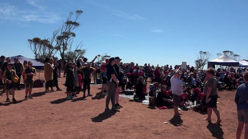 Crowds gathered to watch the launch.