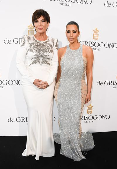 Kris Jenner and Kim Kardashian West, in custom Lan Yu Couture, at the the  Cannes Film Festival in May, 2016