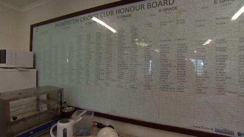 The club's damaged honour board. (9NEWS)