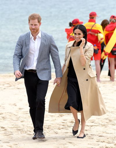 Prince Harry and Meghan Markle at South Melbourne Beach, Thursday October 18 2018