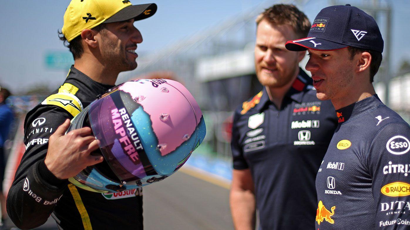 Daniel Ricciardo (left) and Pierre Gasly