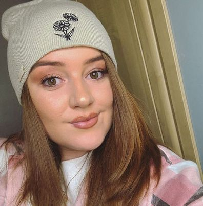 Woman from Wales stroke victim wearing beanie fundraiser