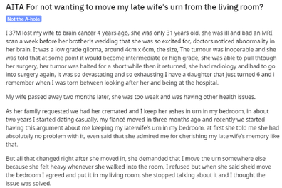 Reddit post about couple fighting over late wife's ashes in urn