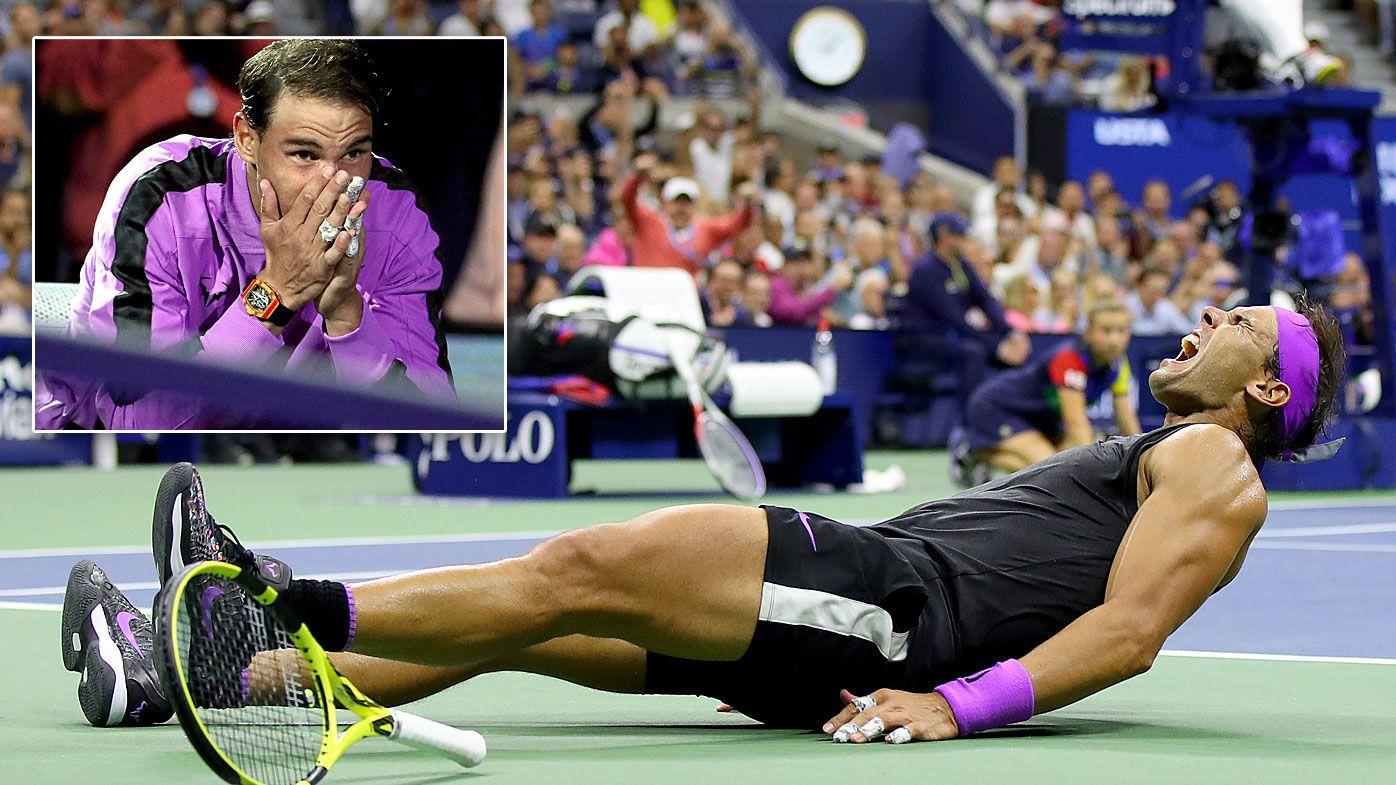Rafael Nadal of Spain celebrates after winning his Men's Singles final match against Daniil Medvedev