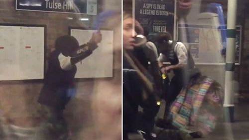 Hooded man tasered by police at a London train platform after reportedly waving a machete at commuters during peak hour.