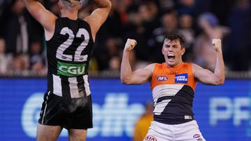Brett Daniels of the Giants celebrates the win during the Second Preliminary Final match between the Collingwood Magpies and the GWS Giants during in Week 3 of the AFL Finals Series at the MCG in Melbourne.
