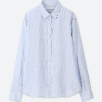 "<em>Style Pick- <a href=""https://www.uniqlo.com/au/store/women-premium-linen-long-sleeve-shirt-4045560017.html#colorSelect"" target=""_blank"" title=""Uniqlo Women Premium Linen Long Sleeve Shirt in Blue, $49.90"" draggable=""false"">Uniqlo Women Premium Linen Long Sleeve Shirt in Blue, $49.90</a></em>"
