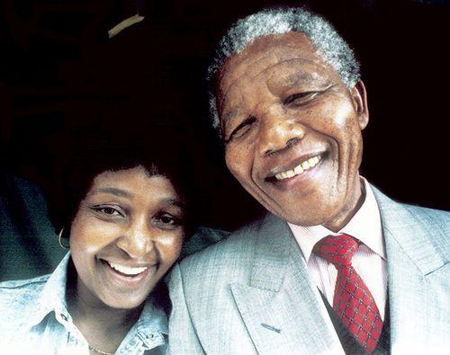 Winnie Madikizela Mandela and her former husband, ex-president Nelson Mandela. (Getty)