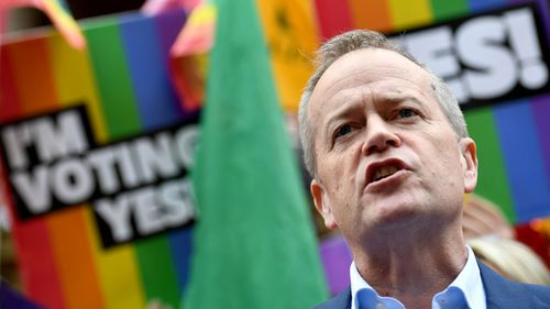 Bill Shorten at a same sex marriage rally in Sydney.