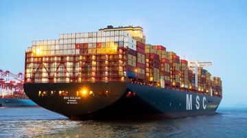 The world's largest container ship, the MSC Gülsün, has arrived in Europe after its maiden voyage from China.