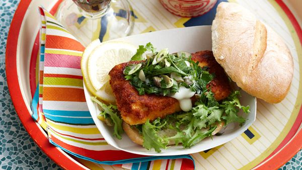 Crumbed fish rolls with tartare salad