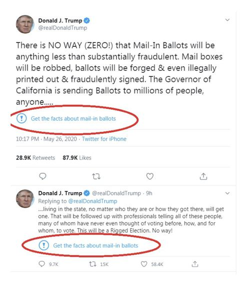 The new warning labels appeared under two of Donald Trump's tweets today, signalling Twitter will be fact-checking the president's claims on the social media platform.