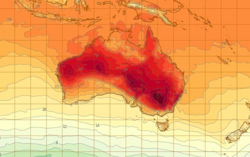 It is a VERY hot outlook for most of Australia today. (BoM)