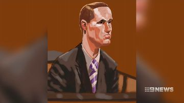 A court sketch of Jonathan Cooper.