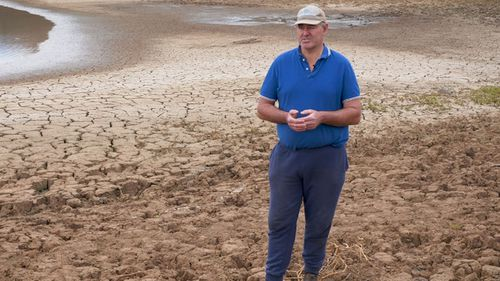 NSW farmer Gavin Moore on his drought-ravaged farm.