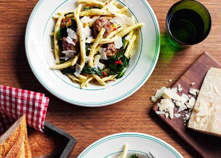 Pork and fennel meatball strozzapreti with braised chicory and chilli