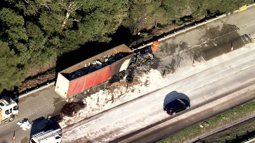 Spilled diesel and a burned truck caused major delays on the M1.