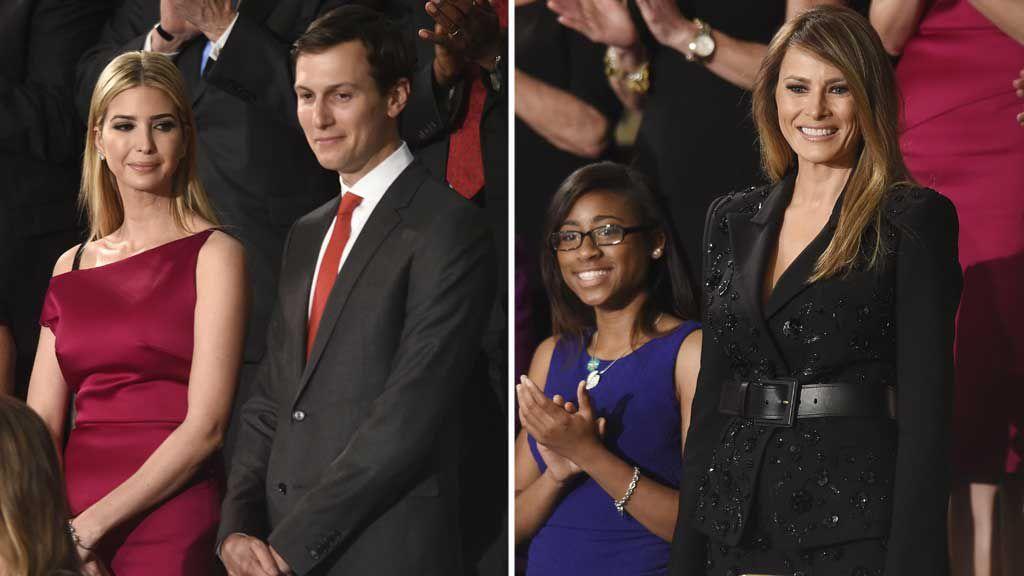 Ivanka Trump with her husband Jared Kushner, and Melania Trump. (AP)