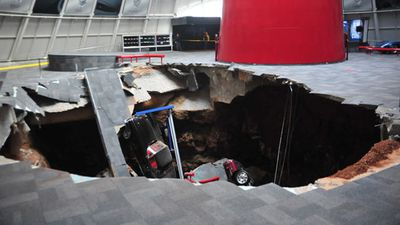 Eight vintage cars were lost in a sinkhole that opened up inside a car museum. (National Corvette Museum)
