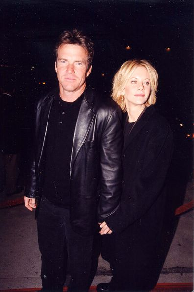 Dennis Quaid and Meg Ryan at the premiere of Hurlyburly in Los Angeles, 1998.