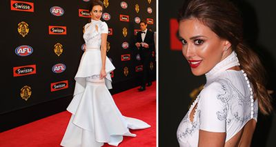 Rebecca Judd, wife of the Blues' Chris Judd, looked spectacular at the 2014 Brownlow Medal awards. (AAP/Getty)