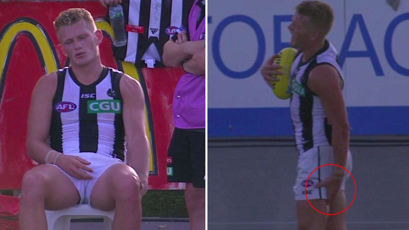 Adam Treloar suffers hamstring injury in Collingwood's pre-season win over Richmond