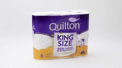 #4 Quilton Toilet Tissue Triple Length White, $10; 6 pack, 3 ply