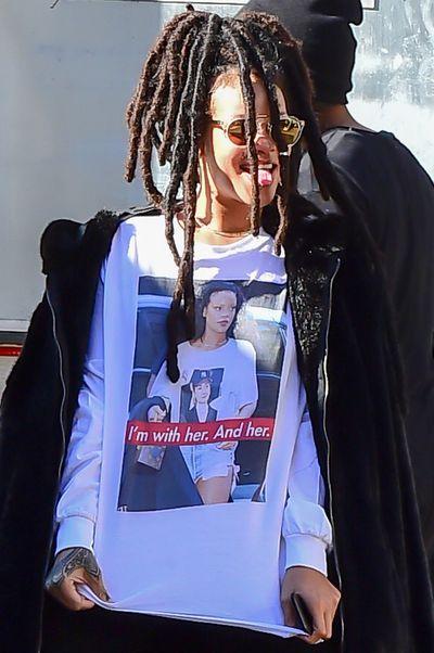 Rihanna in the Basedtla T-shirt.
