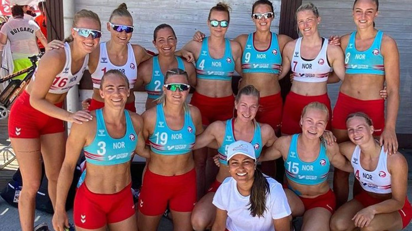 Pink offers to pay fine for Norwegian beach handball team over sexist shorts furore