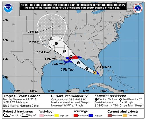 handout image made available by National Oceanic and Atmospheric Administration shows the probable path of Tropical Storm Gordon.