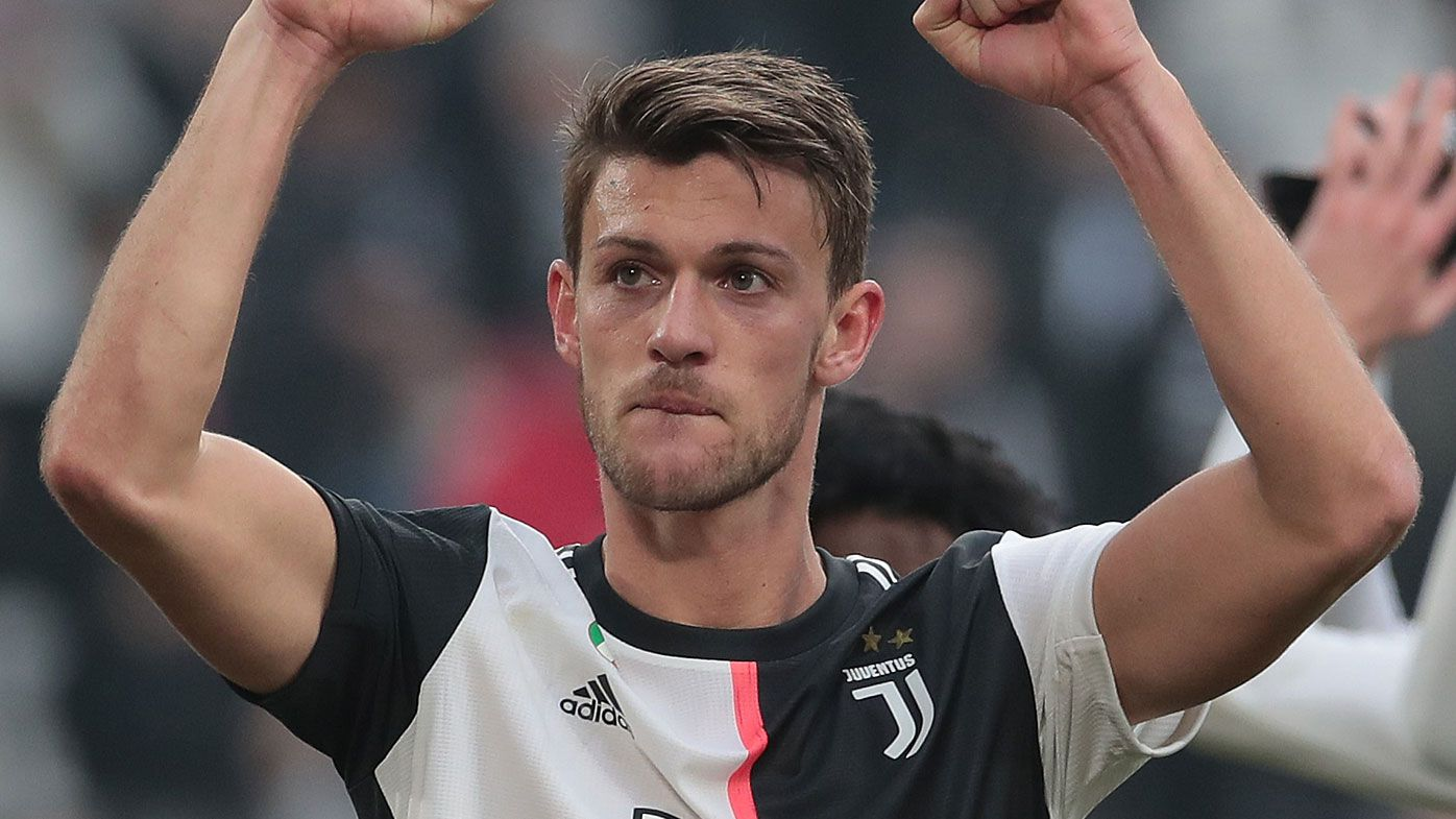Daniele Rugani of Juventus celebrates the victory at the end of the Serie A match between Juventus and Brescia Calcio