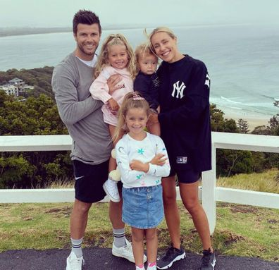 Brooke and Trent Cotchin AFL Richmond with children