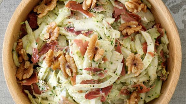 Fennel slaw with prosciutto & walnut pesto