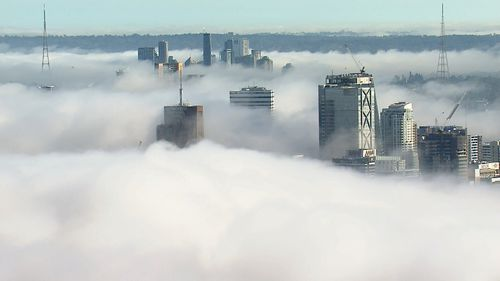 Sydney awoke to a thick blanket of fog over the city this morning.