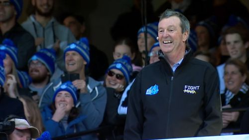 Legend Neale Daniher united all 18 AFL coaches today for a great cause. (9NEWS)