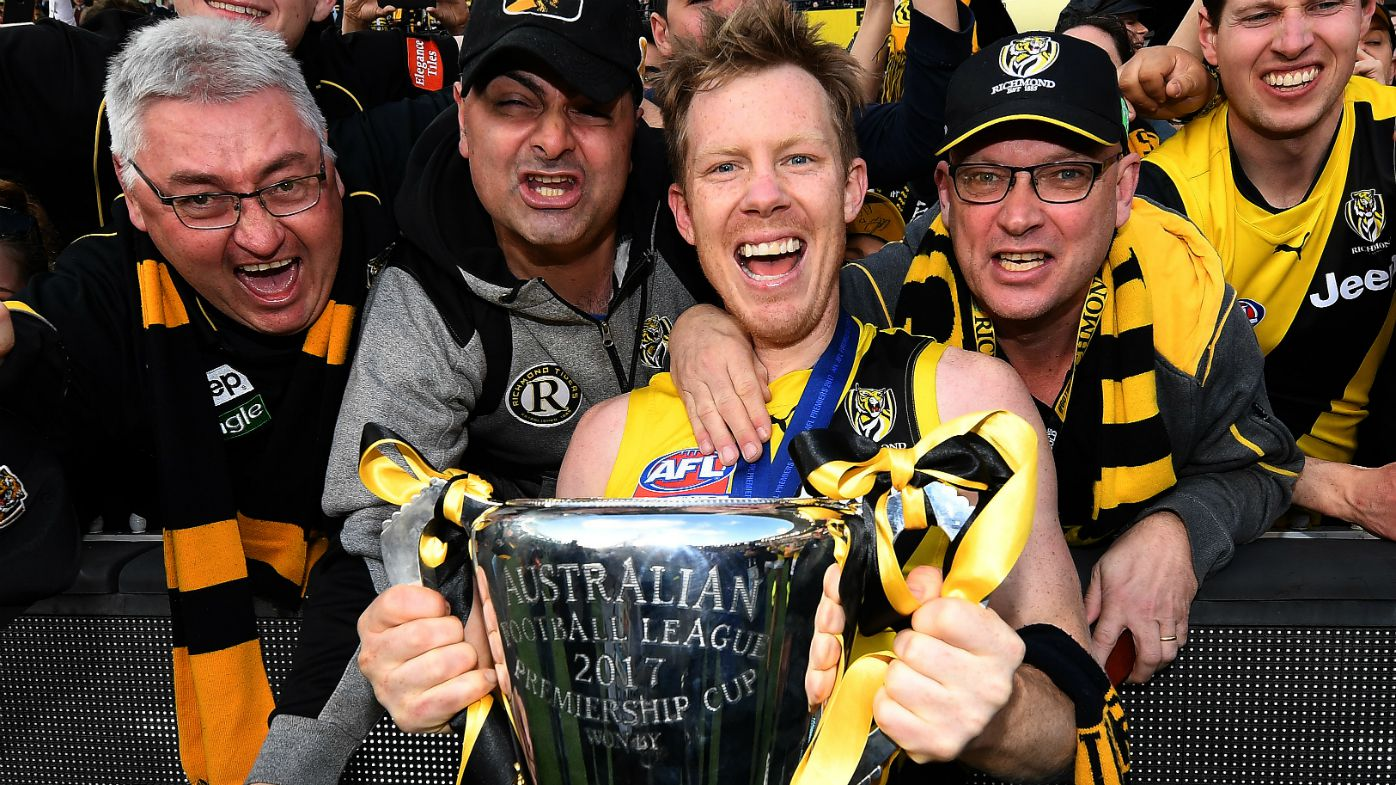 Jack Riewoldt celebrates the AFL Grand Final