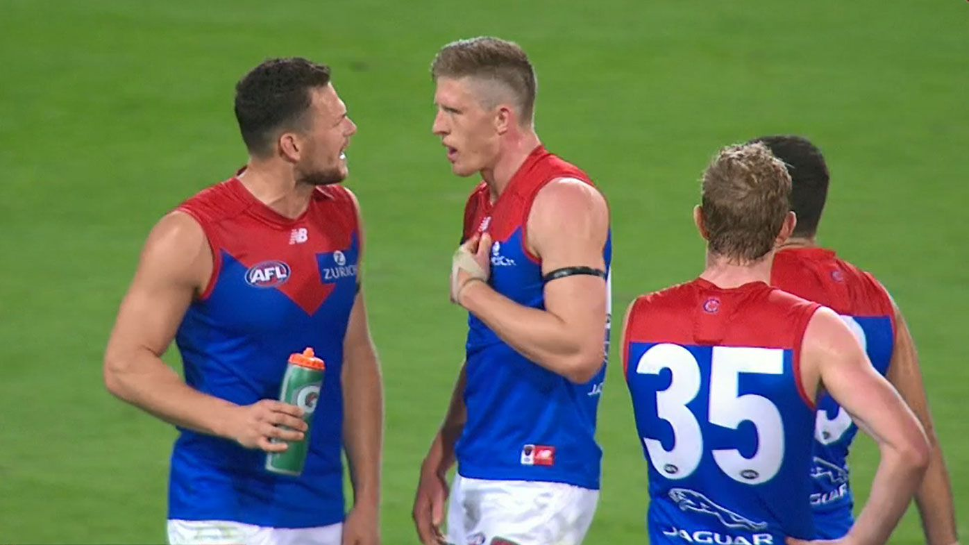 Melbourne coach Simon Goodwin describes heated May-Frost exchange as 'healthy' after loss