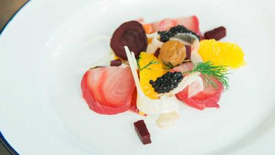 """<a href=""""http://kitchen.nine.com.au/2016/09/06/14/40/beetroot-cured-kingfish-with-citrus-and-fennel-salad"""" target=""""_top"""">Beetroot cured kingfish with citrus and fennel salad, avruga roe and horseradish cream</a>"""