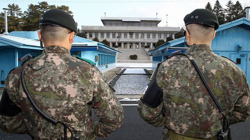 South Korean soldiers stand guard during a high level inter-Korean meeting at the border village of Panmunjom, South Korea, last month. (AP).