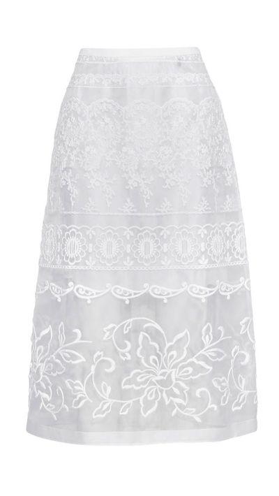 "<a href=""http://www.net-a-porter.com/product/516732/No_21/embroidered-silk-organza-skirt"" target=""_blank"">Embroidered Silk Organza Skirt, $908, No. 21</a>"