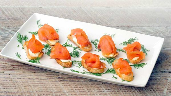 Cold smoked salmon with dill creme fraiche