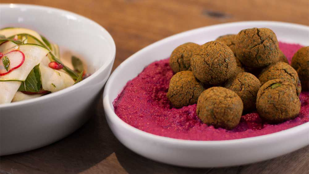 Falafel with beetroot tahini sauce and shaved zucchini salad recipe